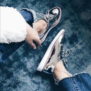 A New Day Silver Metallic Oxfords